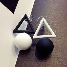 Bicolor Stud Geometry Earrings | Free shipping on women's stud earrings at Choker-Pendant.com.