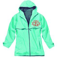 Monogrammed Rain Jacket....Light Blue ($56) found on Polyvore. I need this...so bad!
