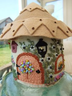 Felt Hand Embroidered Country Cottage by sweetheartsandroses