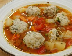 Healthy looking veal meatball soup