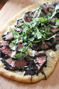grilled steak and gorgonzola flatbread with balsamic reduction