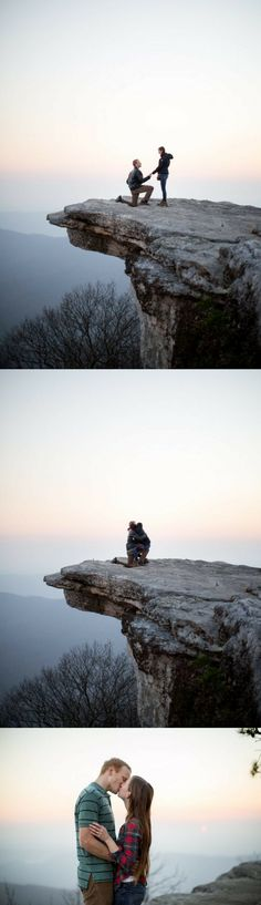 He asked her to marry him on the edge of a cliff, and it's such an incredible proposal. (How To Get Him To Propose Sweets) Engagement Shots, Engagement Photo Poses, Engagement Photo Inspiration, Wedding Proposals, Wedding Pics, Dream Wedding, Marriage Proposals, Perfect Wedding, Tattoo Photography