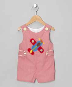 Red Gingham Airplane Shortalls - Infant & Toddler by Stellybelly on #zulily