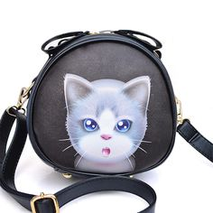 Women PU Leather 3D Cartoon Cute Cat  Crossbody Bag Shoulder Bag