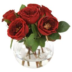 Silk Roses & Buds with Rose Bowl