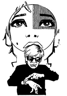Philip Bond #PhilipBond Edie Sedgwick Andy Warhol Comic Cartoon Illustration Drawing Painting #EdieSedgwick #AndyWarhol