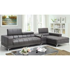 Furniture of America Bourlette Grey Bonded Leather 2-Piece Sectional | Overstock™ Shopping - Big Discounts on Furniture of America Sectional Sofas