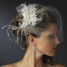 Feather Fascinator Flower with Crystal & Rhinestone Detailing & Russian Birdcage Blusher Veil White or Ivory 3219