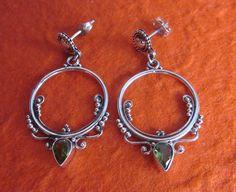 Balinese Silver Circle Of Love with Peridot Stud Earrings / silver 925 / Bali / handmade jewelry.
