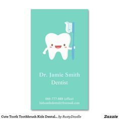 Medical business or visiting cards for dentist vector cute tooth toothbrush kids dental business cards reheart Images