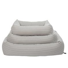 Bolster Dog Bed Powder Grey Stripe Medium - Mungo & Maud Dog and Cat Outfitters Grey Bedding, Quilt Bedding, Bolster Dog Bed, Cat Accessories, Pet Store, Grey Stripes, Your Dog, Labrador, Dog Cat