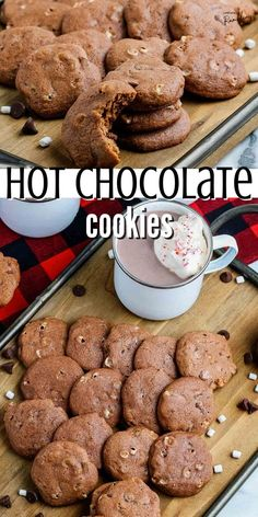Hot chocolate cookies are created by combining hot cocoa mix, chocolate chips and marshmallows for an easy to make cookies that should be on everyone's holiday baking list. Hot cocoa cookies will make you feel like your sitting by the fire as it's snowing outside!
