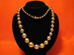HUGE Vintage Heavy Brass Ball Beaded Necklace by JewelryStash, $46.00