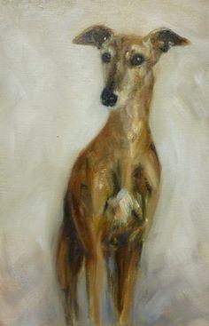 Galgo (Spanish Greyhound) oil on canvas by Claudia Gaede