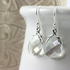 Champagne Gray Crystal Earrings Silver Shade Briolette Sterling Silver Ear Wires Jewelry