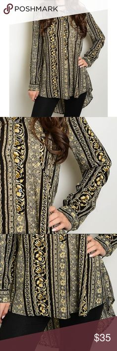 """Hi-Lo Button Down Printed Top Long sleeve relaxed fit top with hi-low hem and print all over.    L: 29"""" B: 40"""" W: 38""""; 100% rayon Tops Blouses"""