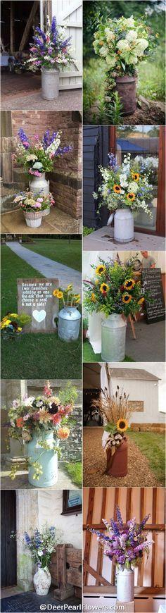 rustic country milk churn wedding decor ideas / http://www.deerpearlflowers.com/rustic-country-milk-jug-wedding-ideas/
