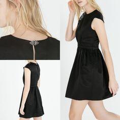 NWT ZARA FULL-SKIRTED DRESS AW14 BLACK SIZE L #ZARA