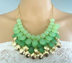 Sale-Green statement chain necklace with layered teardrop, bib necklace, statement necklace, drop shape necklace, layered necklace on Etsy, $7.99