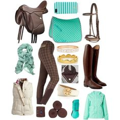 """""""Mint and Brown"""" by LolaKeene on Polyvore...wow this tack haul looks great!!!"""