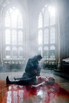 Set photo of Snape healing Draco in Harry Potter and the Half Blood Prince