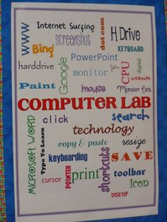 elementary computer lab decorations | created this using text boxes in Word and changing the fonts and ...: Elementary Computer Lab Ideas, Lab Decoration, Technology Bulletin Boards, Computer Bulletin Board Ideas, School Computer Lab Ideas, Computer Bulle