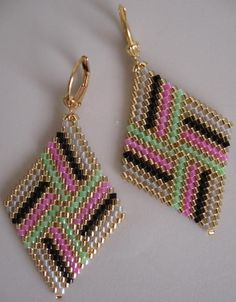 Beadwoven Diamond Shape Earrings - Pink/Green - Copyright - Patti McAlister 2014