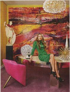 Lana Gomez painting in interior designer Kelly Wearstler's office.