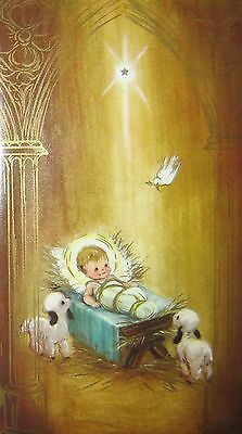 Vintage Christmas Card Nativity Lambs Baby Shining Star Dove 1960s Greeting                                                                                                                                                                                 More