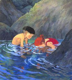 Sosuke & Ponyo - Ponyo on the Cliff by the Sea,Studio Ghibli Studio Ghibli Art, Studio Ghibli Movies, Comic, Hayao Miyazaki, Totoro, Cartoon Art, My Idol, Fanart, Character Design