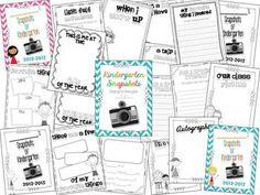 Kindergarten Snapshots: An EOY Kindergarten Memory Book