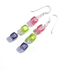 RESERVED FOR PAM Murano Glass Colorful Cube Dangle by JKCJewels