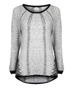 Another great find on #zulily! Dex Ivory & Black Two-Tone Sweater by Dex #zulilyfinds