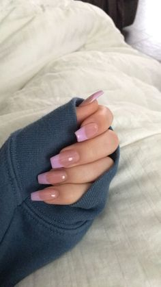 French Tip Acrylic Nails, Acrylic Nails Coffin Short, Simple Acrylic Nails, Pink Acrylic Nails, Acrylic Nail Designs, Long French Tip Nails, Pink Tip Nails, French Tips, Coffin Nails