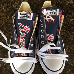b794fd6b9b7fd Stand out from the crowd with Atlanta Braves team spirit in these adorable  Converse style sneakers that have handmade Atlanta Braves designs.