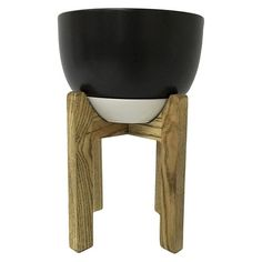 "Wooden Planter Stand with Pot 12"" - Black - Threshold™ : Target, $40"