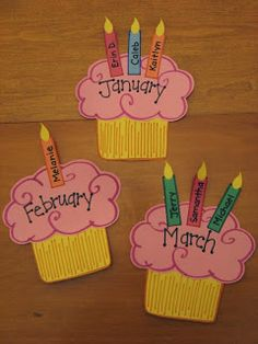 Didi @ Relief Society: Birthday Cupcake Calendar/Board idea - Cute for Missionaries, Young Women, Primary, Relief Society and for all classr...