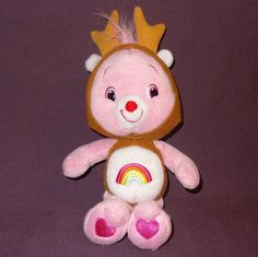 """Cheer Bear Reindeer Care Bears Stuffed Plush Animal 11"""" 2007 Christmas Pink #CareBears #Christmas"""