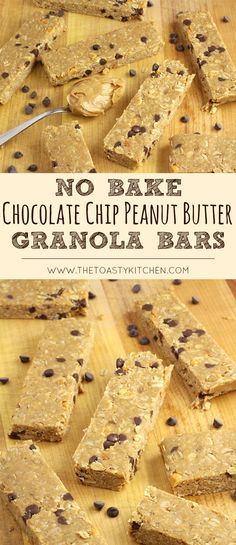 No Bake Chocolate Chip Peanut Butter Granola Bars by The Toasty Kitchen