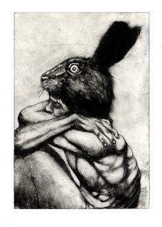 Ian Crossland Illustration. The Hare. Intaglio etching.