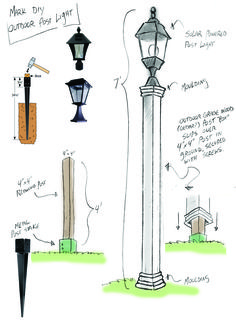 Outdoor Solar Lamppost DIY - Home & Family                                                                                                                                                      More
