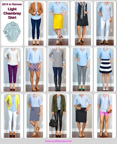 Outfit Posts: 2014 in review - outfit posts: light chambray shirt - 14 ways
