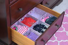 """How to Organize a Kids Room - """"Outfits for the Week"""" using square drawer organizers from The Container Store"""
