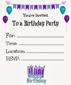 flat floral free printable birthday invitation template