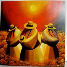 Las Chismosas (The Gossips) by Hector Vargas Lanazca Mexican Artwork, Mexican Paintings, Peruvian Art, Cuban Art, Southwestern Art, Mexican Artists, Art Textile, Native Art, Indian Art