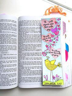 Bible Journaling Bible Verse Art Bible Verse Print great for faith journals Art Journal Hearts Love Sing bird Zephaniah Zephaniah 3 17, Bible Doodling, Bible Drawing, Bible Verse Art, Illustrated Faith, Christian Art, Sticker Paper, Coloring Pages, Bible Journal