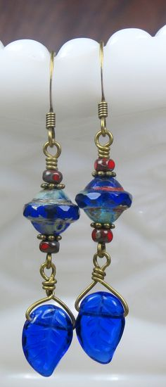 Beautiful Sapphire blue and red Czech glass rustic long dangle earrings with antiqued bronze components and ear wires, Handmade Boho, Bohemian inspired jewelry. Buy yourself a pair! Visit CharmedbyBonnie etsy shop