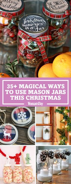 These festive ideas to use mason jars will fulfill all your Christmas decorating needs. Fill your jars with quintessential Christmas scents, like rosemary, cranberry, and mulling spices. Give this jar to the friend who wishes Christmas could last all year!
