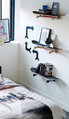 Skateboard Bedroom, Skateboard Shelves, Cool Boys Room, Kids Room, Boy Girl Bedroom, Love Decorations, Diy Bedroom Decor, Home Decor, Room Inspiration