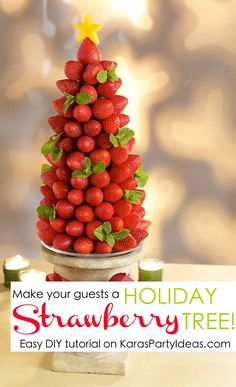 Serve strawberries at your Holiday party like this! Easy DIY Holiday Strawberry Tree tutorial via Kara's Party Ideas KarasPartyIdeas.com #strawberries #christmaspartyideas